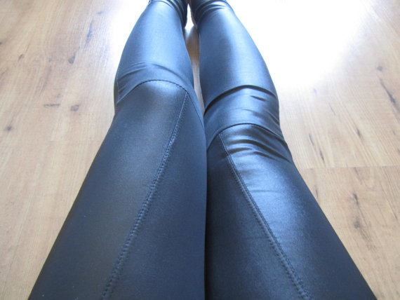 SHIP FROM NY - Black Faux Leather Liquid Leggings/Pants
