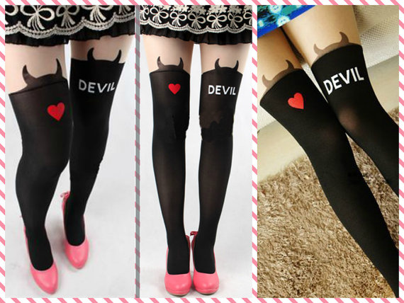 SHIP FROM NY - HALLOWEEN TIGHTS / DEVIL TATTOO TIGHTS