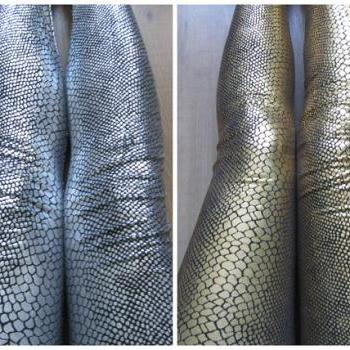 Ship from NY - Silver / Gold Metallic Shimmery Snake Skin Leggings/Halloween Costume
